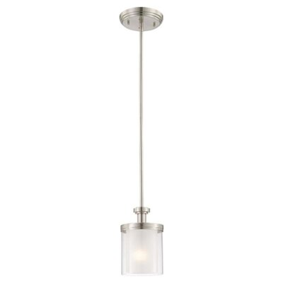 Waynesville 1-Light Mini Pendant Finish / Glass Color: Brushed Nickel/ Clear Outer with Frosted Inner