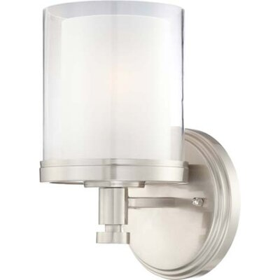 Waynesville 1-Light Outdoor Bath Sconce Finish/Shade Color: Brushed Nickel/ Clear Outer with Frosted Inner