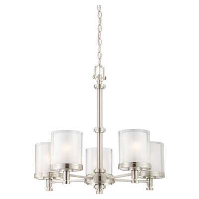 Waynesville 5-Light Shaded Chandelier Finish / Glass Color: Brushed Nickel/ Clear Outer with Frosted Inner