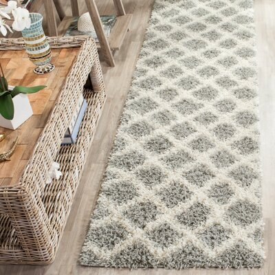 Knoxville Shag Gray/Ivory Area Rug Rug Size: 2-3 X 12