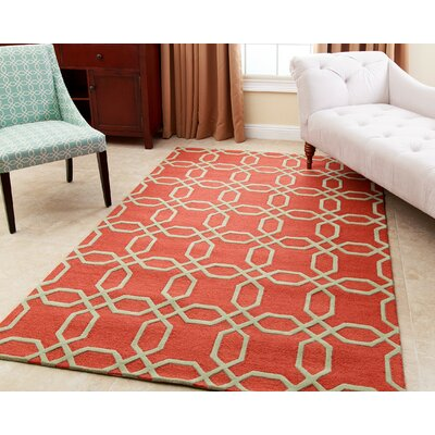 Tadley Hand-Tufted Orange Area Rug Rug Size: 5 x 8