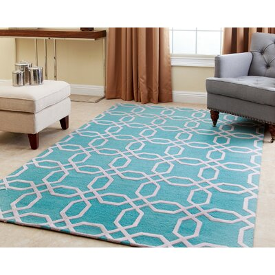 Tadley Hand-Tufted Turquoise Area Rug Rug Size: 8 x 10