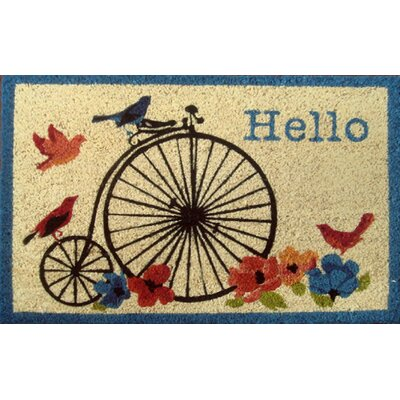 Savannah Heights Hello Bike Doormat Rug Size: 16 x 24