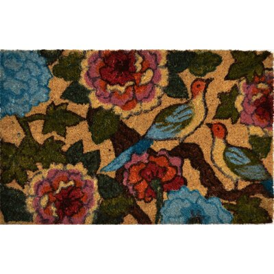 Savannah Heights Two Birds Floral Doormat Rug Size: 1'6 x 2'4