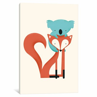 Fox and Koala Graphic Art on Wrapped Canvas
