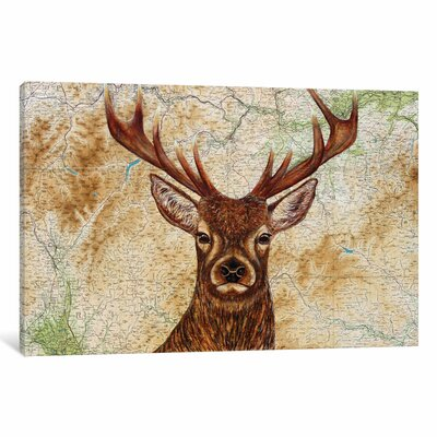 Stag Graphic Art on Wrapped Canvas