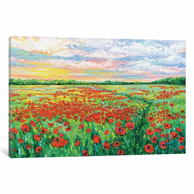 Poppied Path Painting Print on Wrapped Canvas