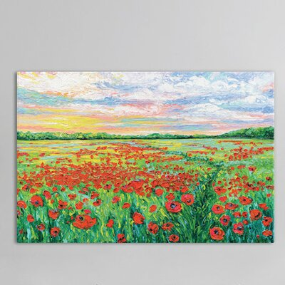 Poppied Path Painting Print on Wrapped Canvas Size: 12