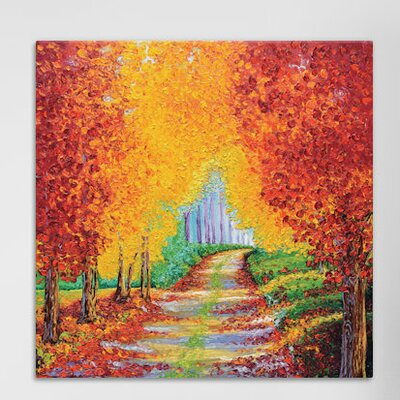 Crimson Pathway Painting Print on Wrapped Canvas Size: 12