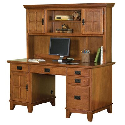 Lakeview Pedestal Computer Desk with Hutch Finish: Cottage Oak