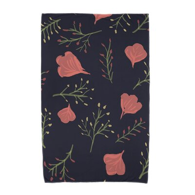Orchard Lane Spring Blooms Beach Towel Color: Navy Blue