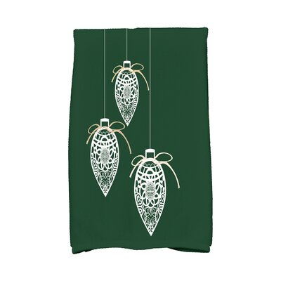 Holiday Wishes Filagree Ornaments Hand Towel Color: Green