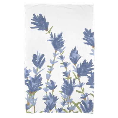 Orchard Lane Lavender Floral Print Beach Towel Color: Blue