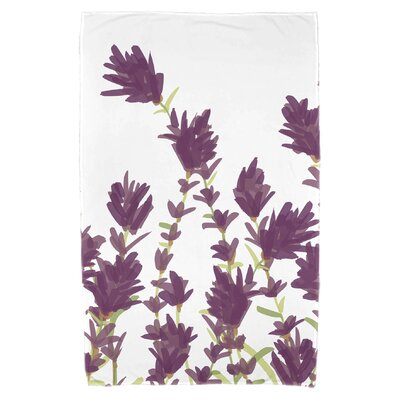 Orchard Lane Lavender Floral Print Beach Towel Color: Purple