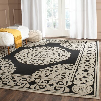 Prompton Black/Cream Area Rug Rug Size: Rectangle 9 x 12