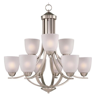 Malden 9-Light Shaded Chandelier Finish: Satin Nickel
