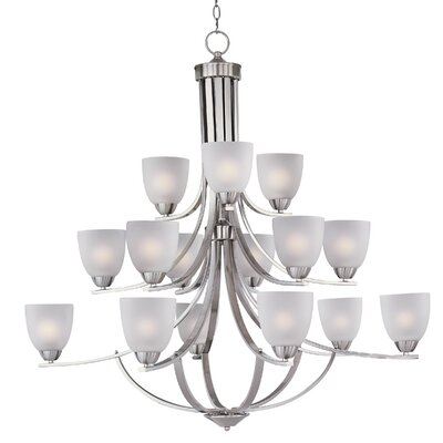 Hayden 15-Light Shaded Chandelier Finish: Satin Nickel