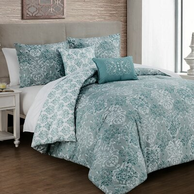 Pacifica 5 Piece Comforter Set Color: Green, Size: King