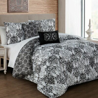 Pacifica 5 Piece Comforter Set Color: Black, Size: King