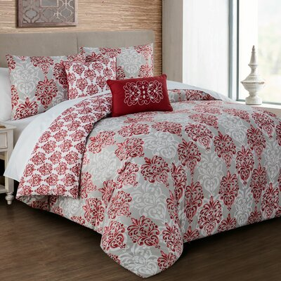 Pacifica 5 Piece Comforter Set Color: Red, Size: King