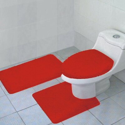 Arata Rectangle Bath Rug Color: Red