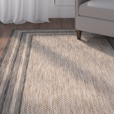 Rockbridge Natural/Black Indoor/Outdoor Area Rug Rug Size: 9 x 12