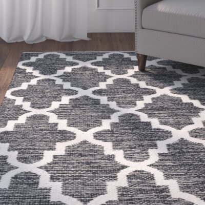 Valley Hand-Woven Black/Ivory Area Rug Rug Size: 5 x 8