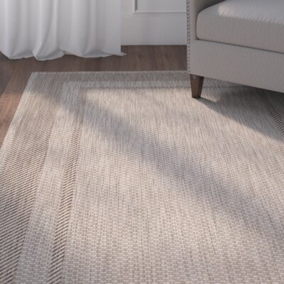 Rockbridge Beige/Black Indoor/Outdoor Area Rug Rug Size: Runner 23 x 12