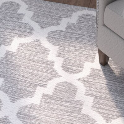 Alcott Hill Valley Hand-Woven Gray/Ivory Area Rug
