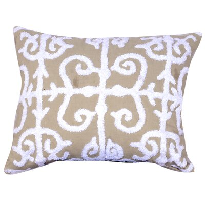 Corey Embroidered Lumbar Pillow in Taupe