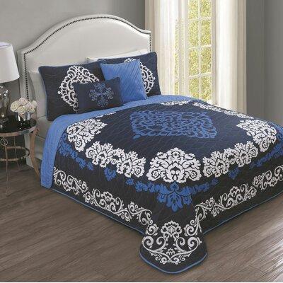 Bridgton 5 Piece Quilt Set Color: Navy Blue, Size: Queen