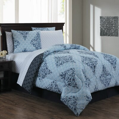 Bridgeville 7 Piece Bed in a Bag Set Size: King, Color: Blue