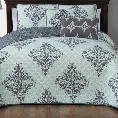 Bridgeville 5 Piece Quilt Set Size: Queen, Color: Mint