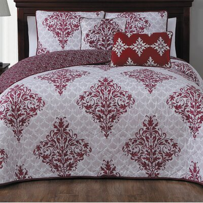 Bridgeville 5 Piece Quilt Set Size: Queen, Color: Red