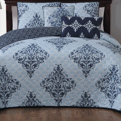 Bridgeville 5 Piece Quilt Set Size: Queen, Color: Blue