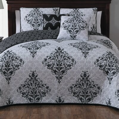 Bridgeville 5 Piece Quilt Set Size: Queen, Color: Black