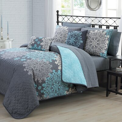 Richmondville 9 Piece Quilt Set Color: Aqua, Size: Queen