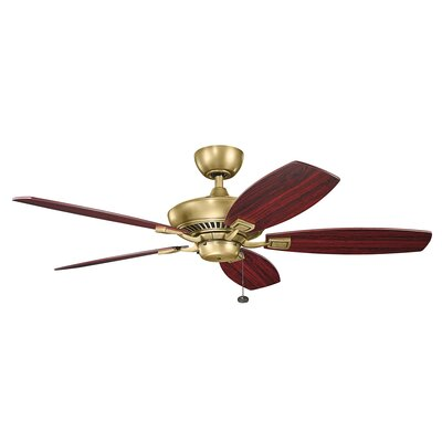 52 Princeton 5-Blade Ceiling Fan Finish: Natural Brass with Medium Cherry Blades