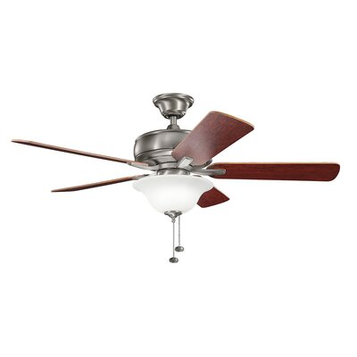 Bonnie 52 5-Blade Select Ceiling Fan Finish: Burnished Antique Pewter with Dark Cherry Blades