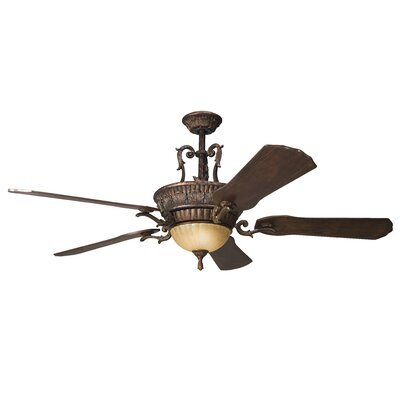 60 Raubsville 5 Blade LED Ceiling Fan Finish: Berkshire Bronze with Cherry/Mahogany Blades