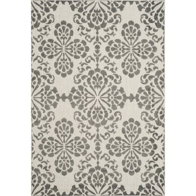 Mannox Cream & Gray Indoor/Outdoor Area Rug Rug Size: 4 x 6