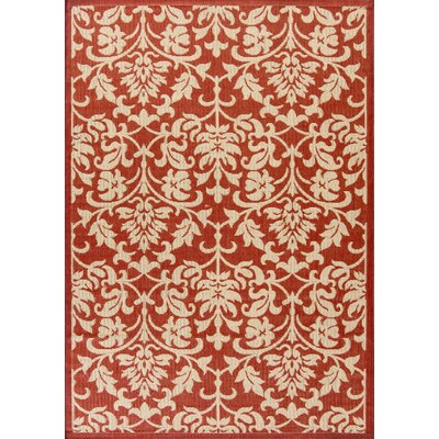 Bexton Hand-Woven Red/Natural Indoor/Outdoor Area Rug Rug Size: 53 x 77