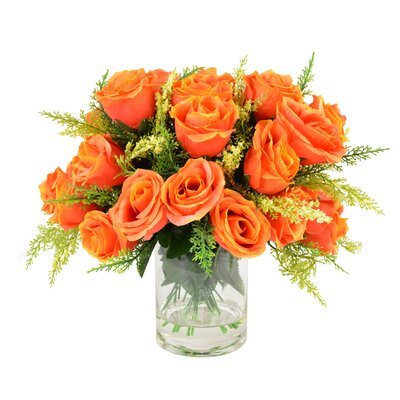 Raffin Rose Bouquet in Glass Vase