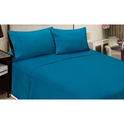 Blackmon Cotton 4 Piece Sheet Set Size: King, Color: Blue