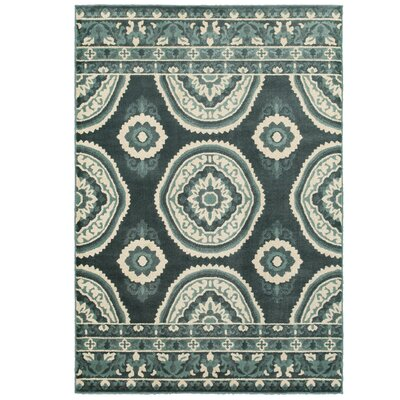Ravenwood Green/White Area Rug Rug Size: 67 x 96