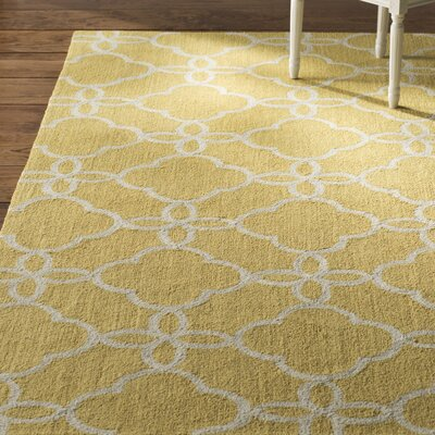 Hand-Hooked Gold/Ivory Indoor/Outdoor Area Rug Rug Size: Runner 23 x 8