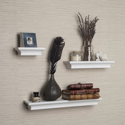 3 Piece Ledge Floating Shelf Set Finish: White