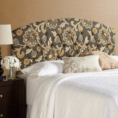 Dublin Curved in Grey Floral Upholstered Panel Headboard Size: Queen
