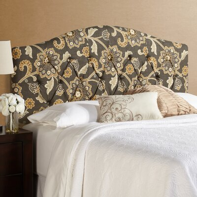 Dublin Grey Floral Arched Upholstered Panel Headboard Size: King