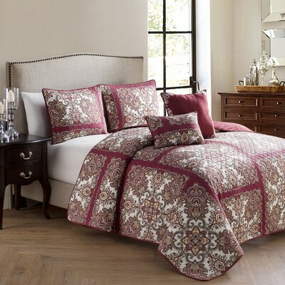 Cahill 5 Piece Quilt Set Size: King, Color: Red